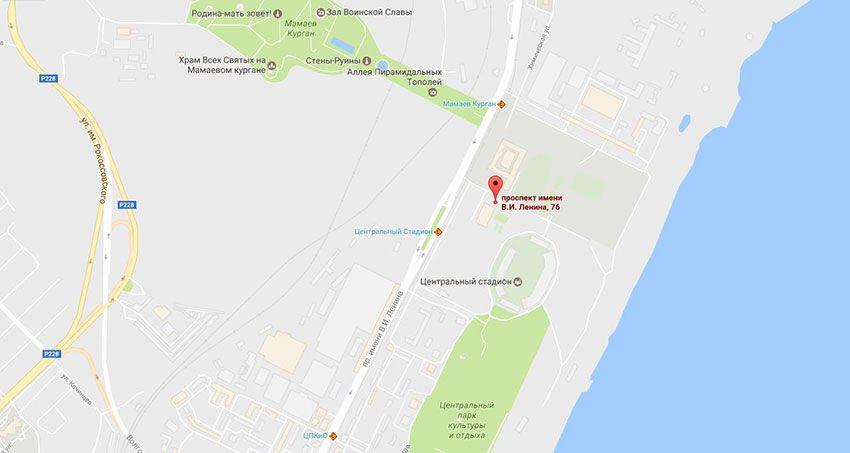 Как доехать до нового стадиона в Волгограде - адрес на карте