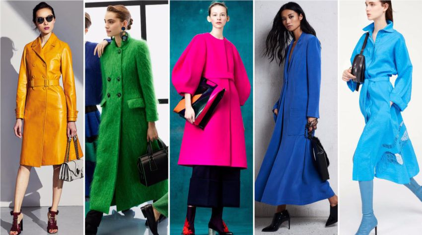 Модные яркие цвета одежды - зима 2018 года