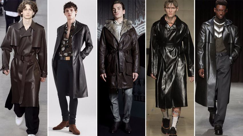 кожаные мужские пальто 2018 года