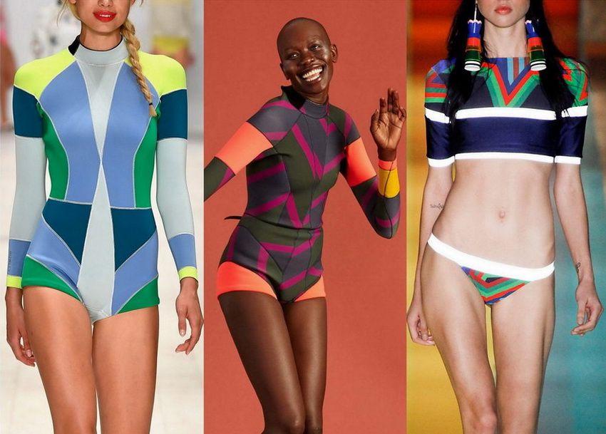 Тенденция моды 2018 года - купальники с геометрическими принтами - фото 2017 года