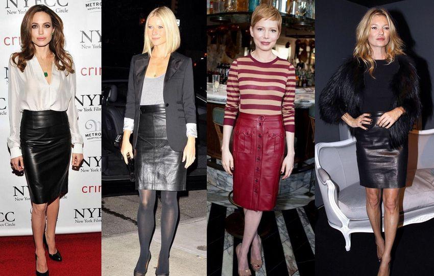 варианты носки кожаной юбки карандаш в 2018 году