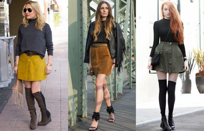 замшевые юбки в 2018 году - фото