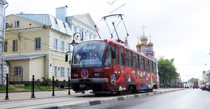 трамвай с символикой чм 2018 в Нижнем Новгороде