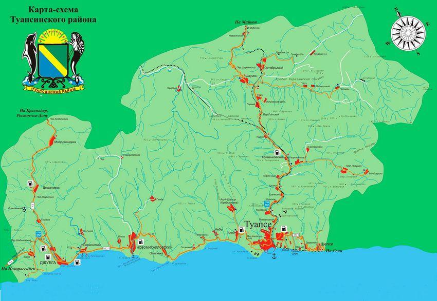 карта-схема туапсинского района